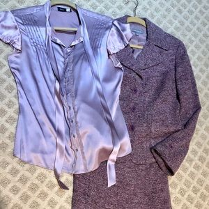 Ann Taylor tweed suit/Sax 5th Ave silk blouse